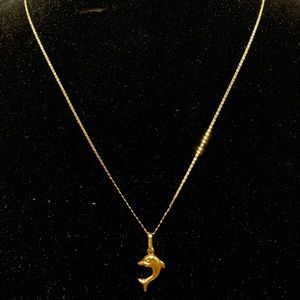 Authentic 18K YG Necklace with Dolphin Pendant